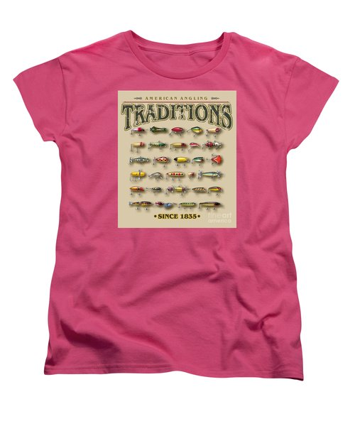 Women's T-Shirt (Standard Cut) featuring the painting American Traditions Lures by JQ Licensing Jon Q Wright