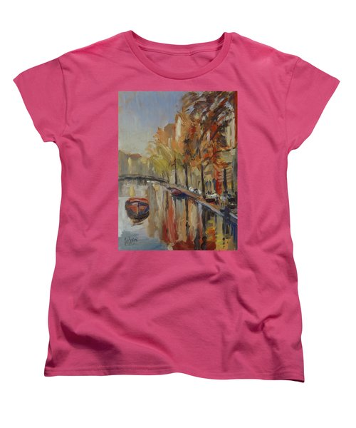 Amsterdam Autumn With Boat Women's T-Shirt (Standard Fit)