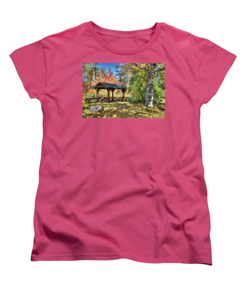 Women's T-Shirt (Standard Cut) featuring the photograph An Autumn Picnic In Maine by Shelley Neff