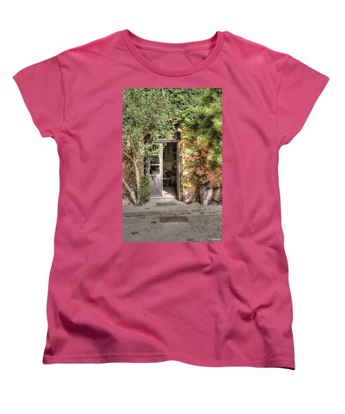 Women's T-Shirt (Standard Cut) featuring the photograph An Entrance In Santorini by Tom Prendergast