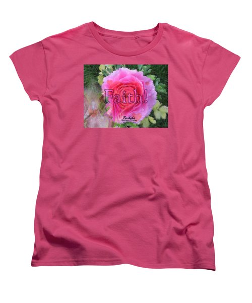 Women's T-Shirt (Standard Cut) featuring the photograph Angels Pink Rose Of Faith by Barbara Tristan