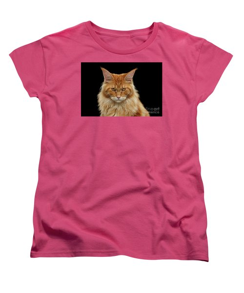 Angry Ginger Maine Coon Cat Gazing On Black Background Women's T-Shirt (Standard Cut) by Sergey Taran