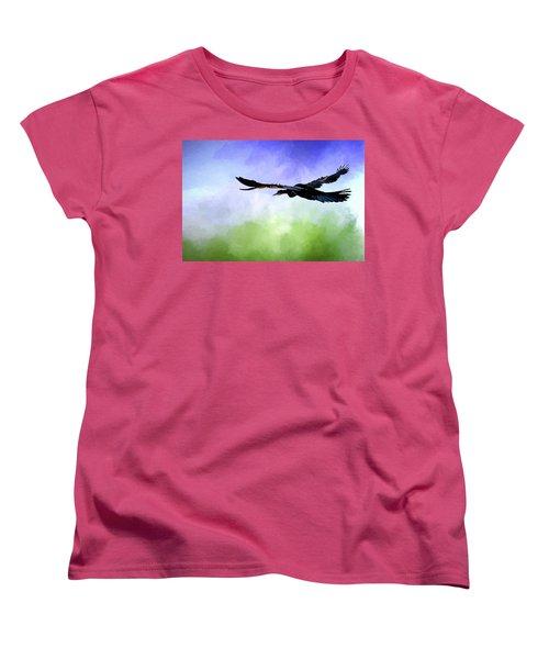 Anhinga In Flight Women's T-Shirt (Standard Cut) by Cyndy Doty