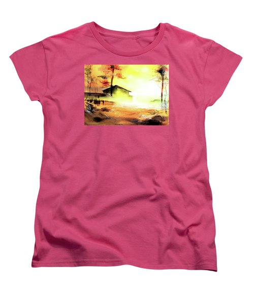 Women's T-Shirt (Standard Cut) featuring the painting Another Good Morning by Anil Nene