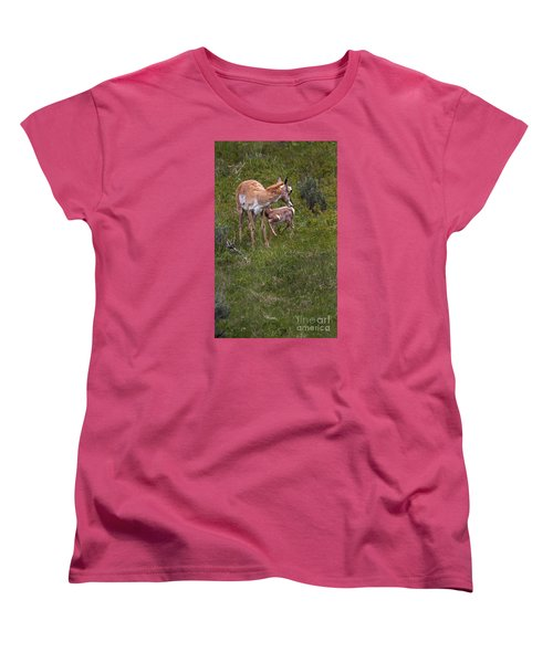 Antelope And Baby-signed-#3576 Women's T-Shirt (Standard Cut) by J L Woody Wooden