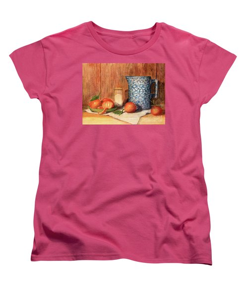 Antique Pitcher With Tangerines Women's T-Shirt (Standard Cut) by Pattie Calfy