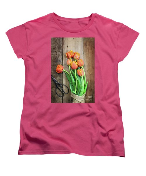 Women's T-Shirt (Standard Cut) featuring the photograph Antique Scissors And Bouguet Of Tulips by Stephanie Frey