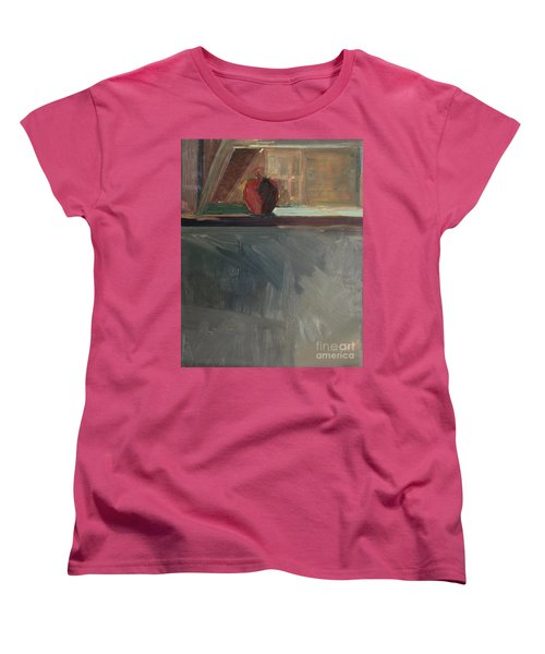 Women's T-Shirt (Standard Cut) featuring the painting Apple On A Sill by Daun Soden-Greene