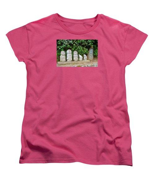 Arashiyama Street Buddah Statues Women's T-Shirt (Standard Cut) by Eva Kaufman