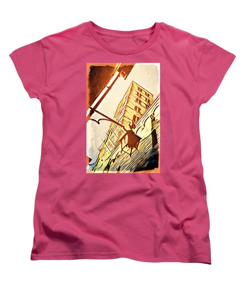 Women's T-Shirt (Standard Cut) featuring the digital art Arezzo's Tower by Andrea Barbieri