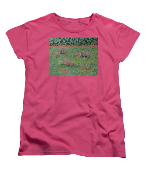 Armadillos In The Yard Women's T-Shirt (Standard Cut) by Hilda and Jose Garrancho