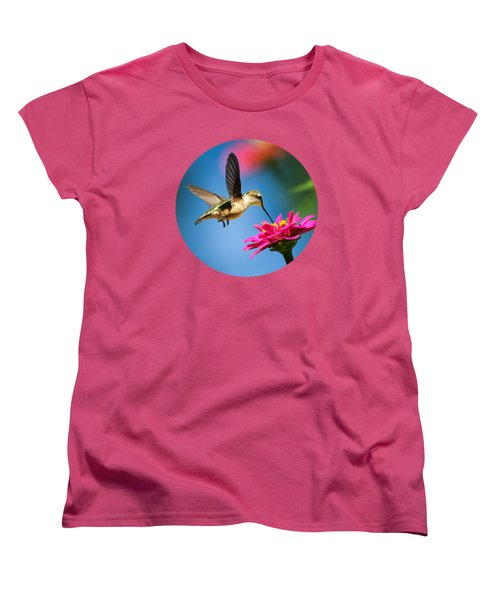Art Of Hummingbird Flight Women's T-Shirt (Standard Cut) by Christina Rollo