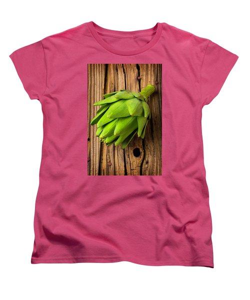 Artichoke On Old Wooden Board Women's T-Shirt (Standard Cut) by Garry Gay