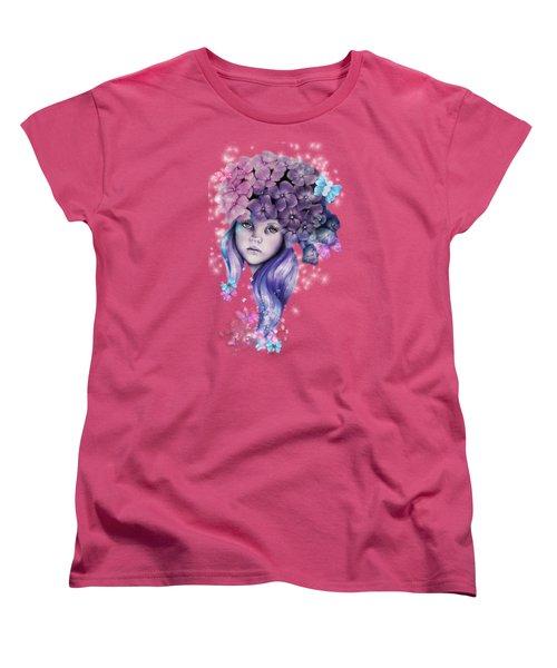 Women's T-Shirt (Standard Cut) featuring the mixed media Hydrangea by Sheena Pike