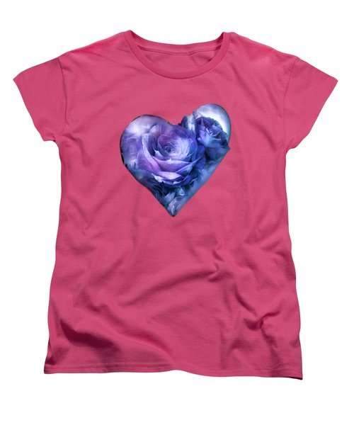 Heart Of A Rose - Lavender Blue Women's T-Shirt (Standard Cut) by Carol Cavalaris