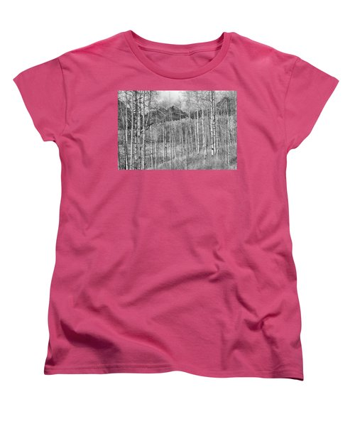 Women's T-Shirt (Standard Cut) featuring the photograph Aspen Ambience Monochrome by Eric Glaser
