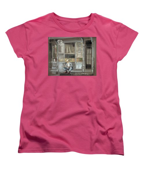 At The Barber Shop Women's T-Shirt (Standard Cut) by Marty Garland