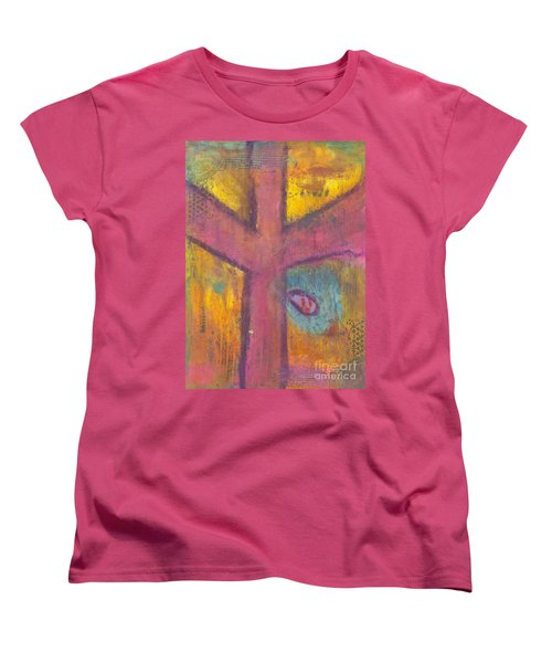 Women's T-Shirt (Standard Cut) featuring the mixed media At The Cross by Angela L Walker