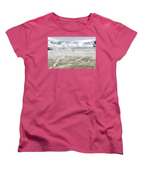 Women's T-Shirt (Standard Cut) featuring the photograph Athabasca Glacier With Guided Expedition by Pierre Leclerc Photography