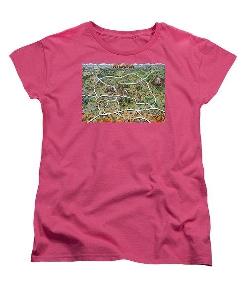Atlanta Cartoon Map Women's T-Shirt (Standard Cut) by Kevin Middleton