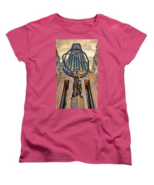 Atlas At The Rock Women's T-Shirt (Standard Cut) by Chris Lord