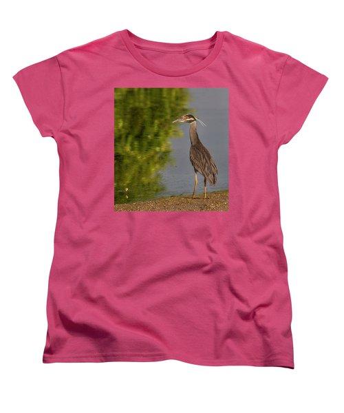 Women's T-Shirt (Standard Cut) featuring the photograph Attentive Heron by Jean Noren