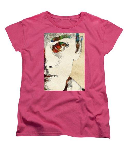 Audrey Half Face Portrait Women's T-Shirt (Standard Cut) by Mihaela Pater