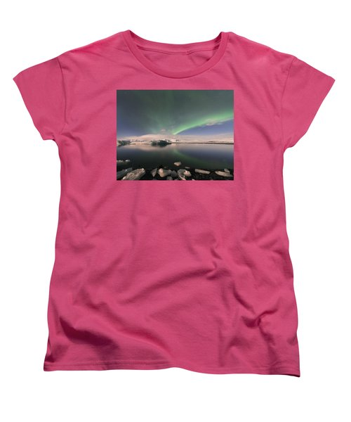Aurora Borealis And Reflection Women's T-Shirt (Standard Cut) by Wanda Krack