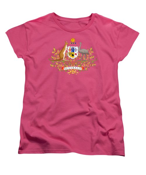Women's T-Shirt (Standard Cut) featuring the drawing Australia Coat Of Arms by Movie Poster Prints