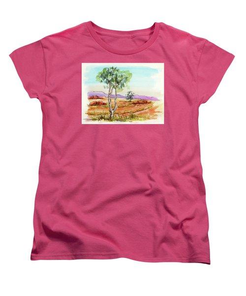 Women's T-Shirt (Standard Cut) featuring the painting Australian Landscape Sketch by Margaret Stockdale