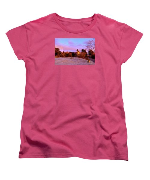 Autumn At East Point Lighthouse Women's T-Shirt (Standard Cut) by Nancy Patterson