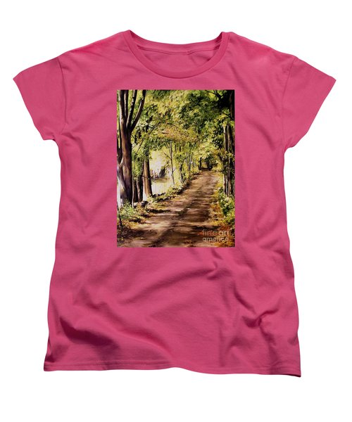 Women's T-Shirt (Standard Cut) featuring the painting Autumn Begins In Underhill by Laurie Rohner