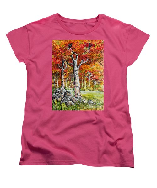 Women's T-Shirt (Standard Cut) featuring the painting Autumn Bloom by Terry Banderas