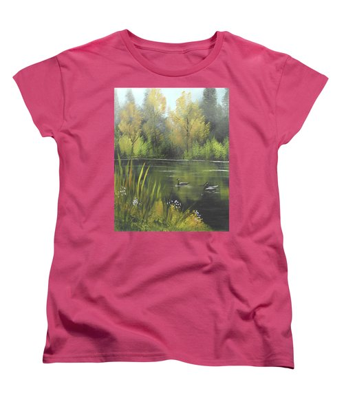 Women's T-Shirt (Standard Cut) featuring the mixed media Autumn In The Park by Angela Stout