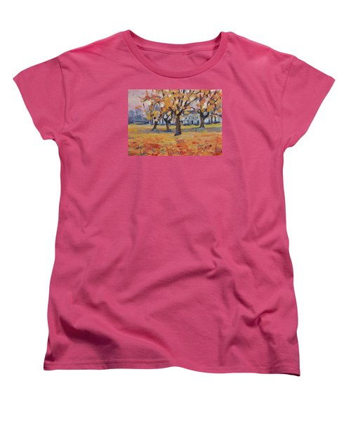 Women's T-Shirt (Standard Cut) featuring the painting Autumn In The Villa Park Maastricht by Nop Briex