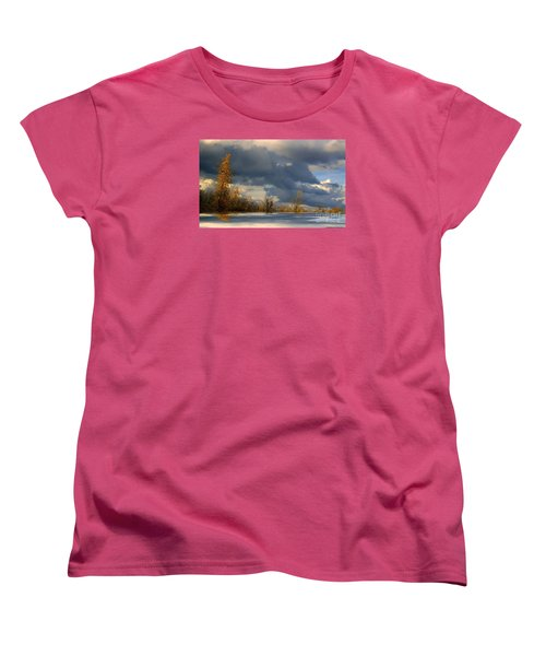 Women's T-Shirt (Standard Cut) featuring the photograph Autumn Skies  by Elfriede Fulda