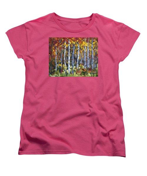 Women's T-Shirt (Standard Cut) featuring the painting Autumn Trees by Jennifer Beaudet