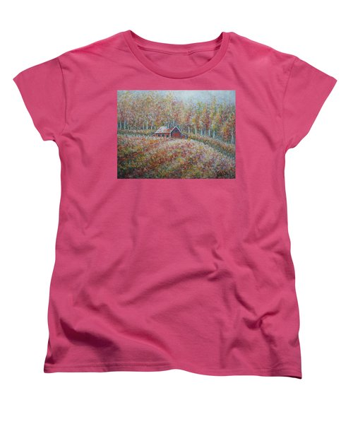 Women's T-Shirt (Standard Cut) featuring the painting Autumn Whisper. by Natalie Holland