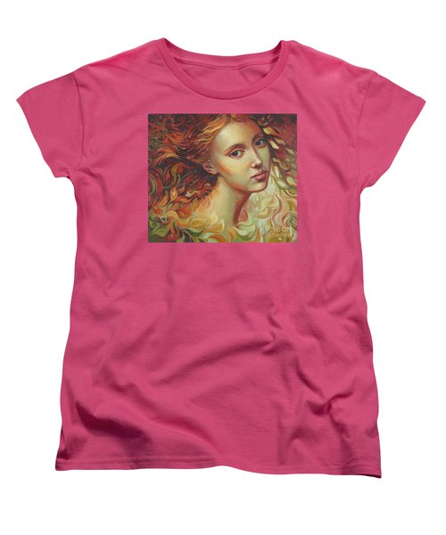 Women's T-Shirt (Standard Cut) featuring the painting Autumn Wind by Elena Oleniuc