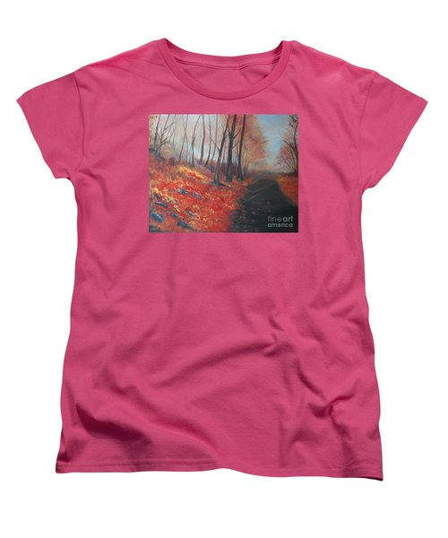Women's T-Shirt (Standard Cut) featuring the painting Autumns Pathway by Leslie Allen