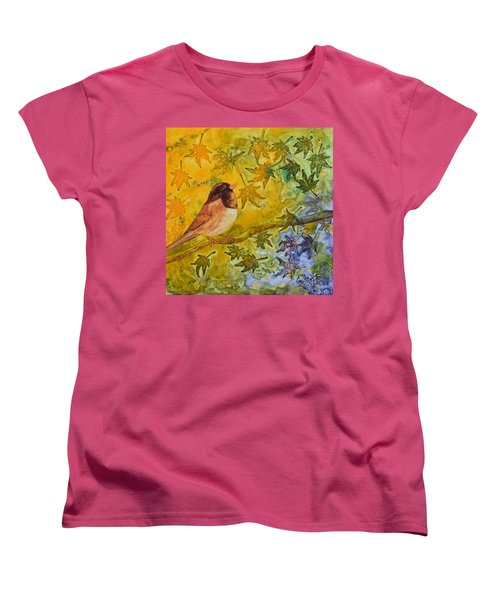 Women's T-Shirt (Standard Cut) featuring the painting Autumn's Song by Nancy Jolley