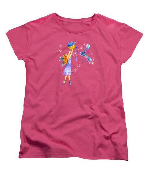 Azuria Blue Twinkle Apparel Design Women's T-Shirt (Standard Cut) by Teresa Ascone