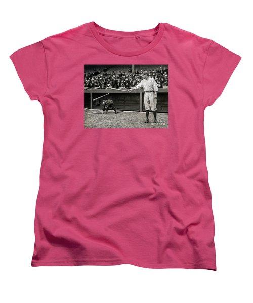 Babe Ruth At Bat Women's T-Shirt (Standard Cut) by Jon Neidert