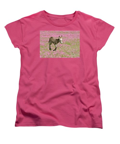 Women's T-Shirt (Standard Cut) featuring the photograph Baby Donkey In The Flowers by Myrna Bradshaw