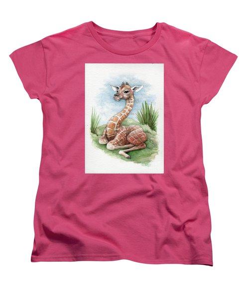 Baby Giraffe Women's T-Shirt (Standard Cut) by Lora Serra