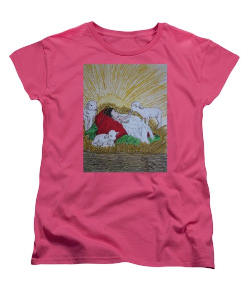 Baby Jesus At Birth Women's T-Shirt (Standard Cut) by Kathy Marrs Chandler
