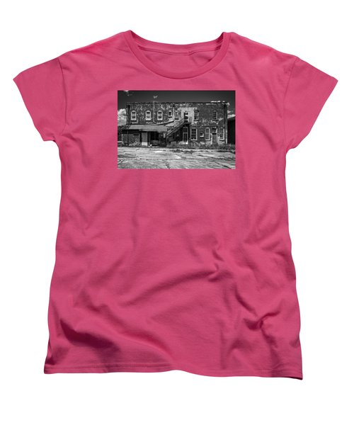Women's T-Shirt (Standard Cut) featuring the photograph Back Lot - Bw by Christopher Holmes
