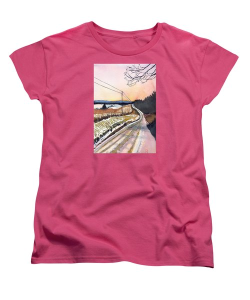 Women's T-Shirt (Standard Cut) featuring the painting Backlit Roads by Katherine Miller