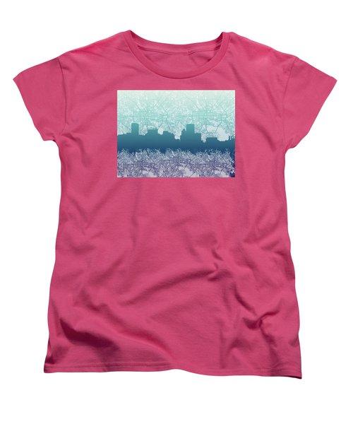 Women's T-Shirt (Standard Cut) featuring the painting Baltimore City Skyline Map 2 by Bekim Art
