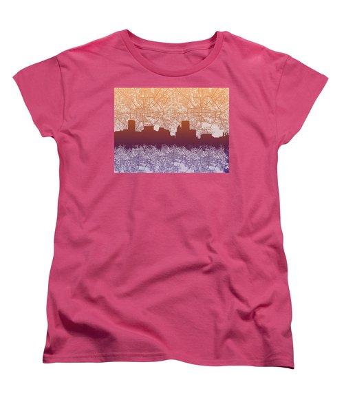Women's T-Shirt (Standard Cut) featuring the painting Baltimore City Skyline Map by Bekim Art